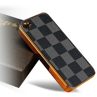 Fashionable Designer Leather Hard Back Case Cover For Apple iPhone 4 4G 4S, 20 Patterns For Choose + Free Shipping