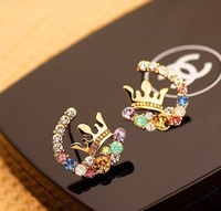 (Promotion) new arrival Super flash bright colorful exquisite lab diamond crown earring /free shipping /16pcs/lot/H038
