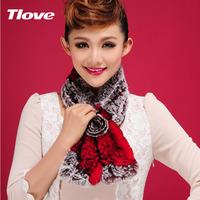 Free shipping   women's winter fur muffler scarf rex rabbit hair fur two-color female women's rose scarf thermal