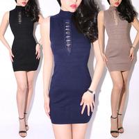2013 New Fashion Stand Collar Chest Gauze Sleeveless Tank Dress bandage Party Dresses Black Dark Blue Khaki 3 Color
