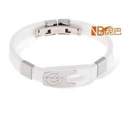 Target Patterned Irregular Shape with White Strip Casual Silicone Bracelets Wholesale FREE SHIPPING(China (Mainland))