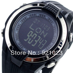 Free Shipping Digital Sport Watch with Time Alarm Stopwatch Weather Forecast Compass Air Pressure Silvery Black Dial Watches(China (Mainland))