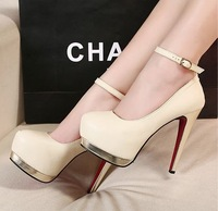 Free shipping 2013 New women high heels pumps platform shoes button double platform shallow mouth Office lady shoes party  heels
