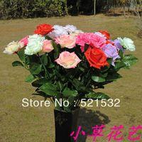 20pcs/lot Artificial flower dried flowers wedding flowers bandwagon 7 single rose holding flowers D8815