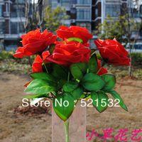 artificial flower rose dining table decoration 7 rose Hotsale plastic flower for wedding  wholesale 5pcs/lot