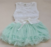 Free shipping 2013 summer girls dress, tutu dress children dress (size for 3-8 years) color pink green rose