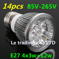 14pcs/lot Home Garden High Power Dimmable  E27 4X3W 12W LED lighting Spotlight led bulbs led lamp 85-265V free shipping