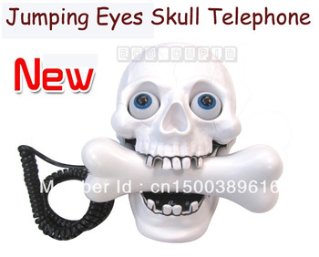 Hot Selling!!! Best Wired Jumping Eyes Skull Corded Landline Telephone Head Halloween decoration Home Free shipping