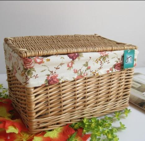 Liubian rustic rattan storage basket with lid rattan Large lid debris basket kitchen cabinet basket(China (Mainland))