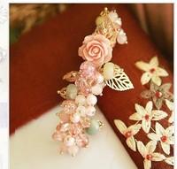 Luxury Rose Pollen Powder Leaf Crystal Pearl Hairpin Fashion Hair Ornaments