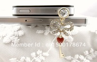 Free Shipping Bowknot with Key Dust Plug Dust Cell Phone Jewelry Cell Phone Accessories
