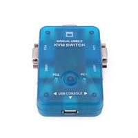 Free Shipping New KVM Switch 2 Port USB 2.0 Box Manual HOT Plug D0302A Eshow