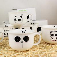 Great bone China porcelain 6 pandas/lot 6 lovely panda cute ceramic mug coffee & milk cup Black and white free shipping