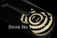 Free shipping!! New arrival custom shop left hand Bull Eyes Zakk Wylde in black yellow electric guitar