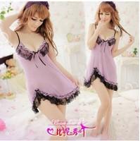 No min order Free shipping woman sexy lingerie purple sleepwear babydoll
