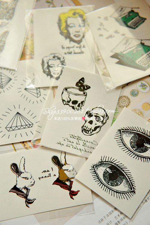 Hot-selling HARAJUKU tattoo stickers diamond cat marilyn skull 5 7cm(China (Mainland))