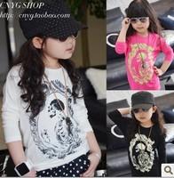 Free shipping whole sale free shipping Baby modal pianbu wift cotton vintage skull laciness long design t-shirt x-6020 0.4