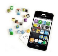 Free shipping 18 pcs/set iPhone 4 app fridge magnet /Apple icon creative fridge magnet \/Apple software