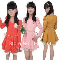 hot sale 2013 spring  new Children's clothing girls child one-piece dress princess dress long sleeve 3 color