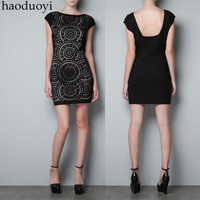 2013 top selling fashion women Cutout lining elastic slim back black one-piece dress 6 full