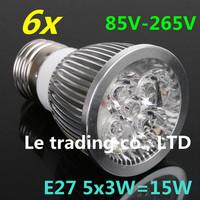 6pcs/lot E27 Dimmable 5X3W 15W 85V-265V LED Lamp LED Light Bulbs Spotlight Warm White/Cool White free shipping