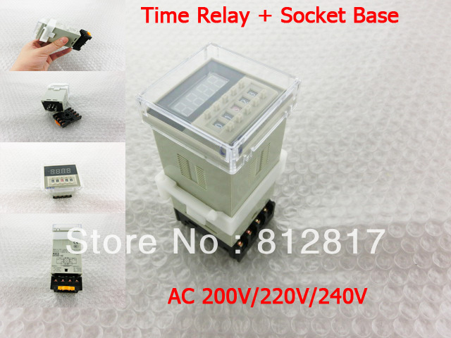 DH48S-2Z AC 220V 0.01s-99h99m Digital Timer Time Delay Relay w 8 Pin Base(China (Mainland))