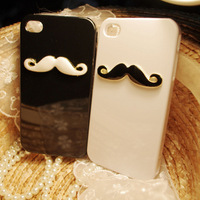 Free shipping DIY phone decoration cute mustache alloy accessories for iphone wholesale 10pcs/lot