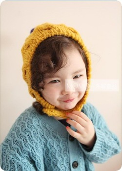 Momo boy child female handmade knitted hat ball ear protector cap ,