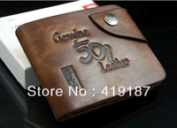 High quality fashion Leather Wallet for Man Coffe Color Horizontal Style free shipping