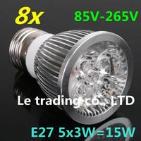 8pcs/lot E27 Dimmable 5X3W 15W 85V-265V LED Lamp LED Light Bulbs Spotlight Warm White/Cool White free shipping