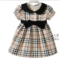 Free shipping girl's cotton classical plaid dresses autumn/winter dress children pink bowknot one-piece
