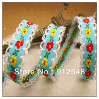 "free shipping 3/8""(10mm) chromophous embroidery ribbon laciness mobile phone strap diy handmade clothes accessories,xh021"