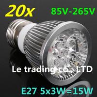 20pcs/lot E27 Dimmable 5X3W 15W 85V-265V LED Lamp LED Light Bulbs Spotlight Warm White/Cool White free shipping