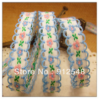 "free shipping 3/8""(10mm) chromophous embroidery ribbon laciness mobile phone strap diy handmade clothes accessories,xh020"