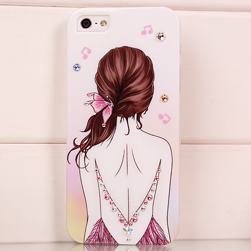 Young girl for iphone for 5 rhinestone phone case shell for apple 5 mobile phone case protective case(China (Mainland))