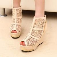 Open toe wedges shoe ultra high heels platform lace female shoes slip-resistant summer shoes low-top net fabric