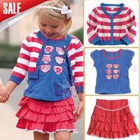 2014 New baby Girl clothes set 3pcs (Single stripe Jacket + T-shirt + dress)kids summer/Autumn suits 5set/lot
