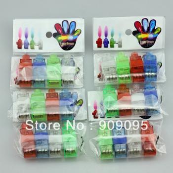 100 pcs/lot (25 packs) Colorful Finger Lamp Laser Led Finger Lights Halloween Light Cristmas Festival Gift (OPP bag)