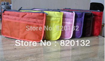 Hot Sale Lady's Travel Cosmetic Organizer Bag Handbag Organizer Insert With Pocket Storage Bag,50pcs/lot Free DHL/Fedex Shipping