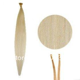 0.5g/Strands Pre Bonded I Stick Tip Micro Fusion Remy Human Hair Extensions #60 lightest blonde, 100S/set , 200S/lot