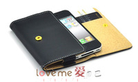 Free Shipping,New Fashion Style Foldable Folio Leather Credit Card Wallet Holder Skin Case Cover For  iPhone 4 4S,THL W3 4.5""