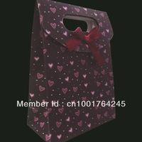 Free Shipping,9pcs/lot heart Black Wedding Party Favor Jewelry Paper Gift Bag Candy Packaging Pouch Bags,12.5*6*16.5cm
