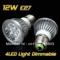FREE Shipping 20pcs/lot High power CREE E27 4x3W 12W 85-265V Dimmable Light lamp Bulb LED Downlight Led Bulb
