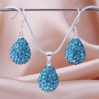 Hot sale Fashion Gift Shamballa Necklace&Earrings Matching Czech Crystal Jewelry Set BS035 Free Shipping