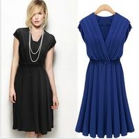 Summer Women's Swing   Dress /Girl's Milk Silk V-neck Dress Free Shipping