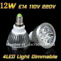 10pcs/lot High power Free shipping E14 4x3W 12W 110V/220V Dimmable CREE Led Light Lamp led spotlight