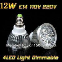 10pcs/lot High power Free shipping E14 4x3W 12W 110V/220V Dimmable CREE Led Light Lamp led spotlight