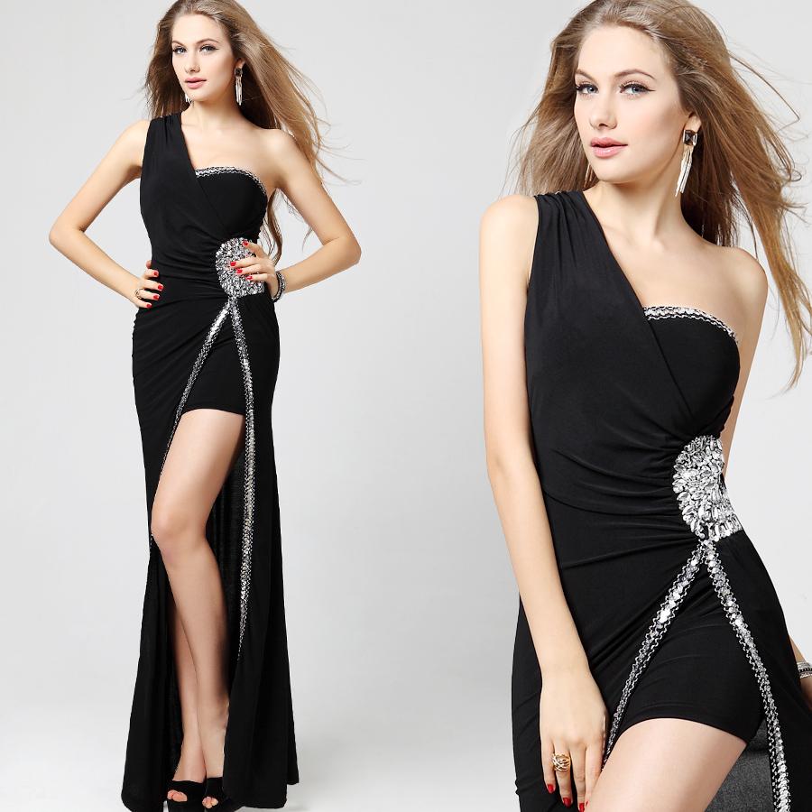 Free shipping Black long design one shoulder evening dress sexy car models costume(China (Mainland))