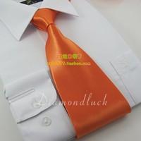 Formal tie solid color commercial tie orange 14 ea0008