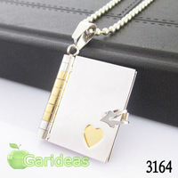 Free shipping +Wholesale  Fashion Gold Stainless Steel Open Book  Charm Pendant Necklace New Gift Item ID:3164